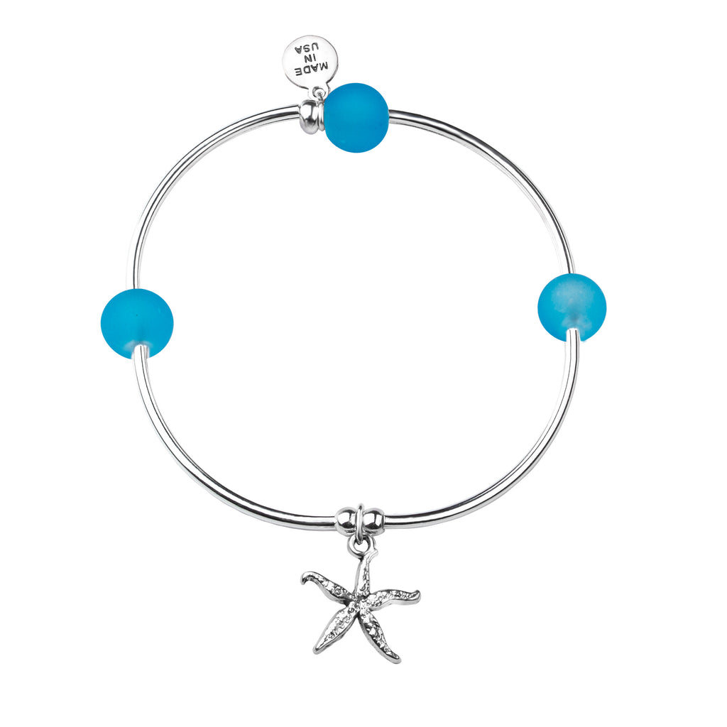 Starfish - Sea Glass | Soft Bangle Charm Bracelet | Pacific Blue