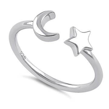 Ring| Moon and Star-Adjustable | Sterling Silver