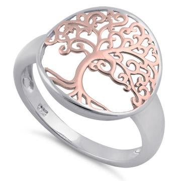 Ring| Tree of Life-2 Tone| Sterling Silver with Rose gold Fill