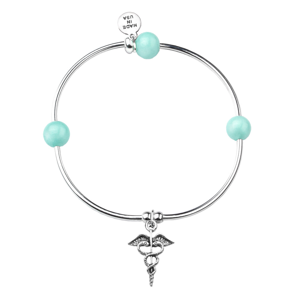 Caduceus (Medical Symbol) | Soft Bangle Charm Bracelet | Tiffany Blue Agate