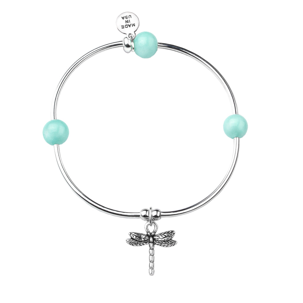 Dragonfly | Soft Bangle Charm Bracelet |  Tiffany Blue