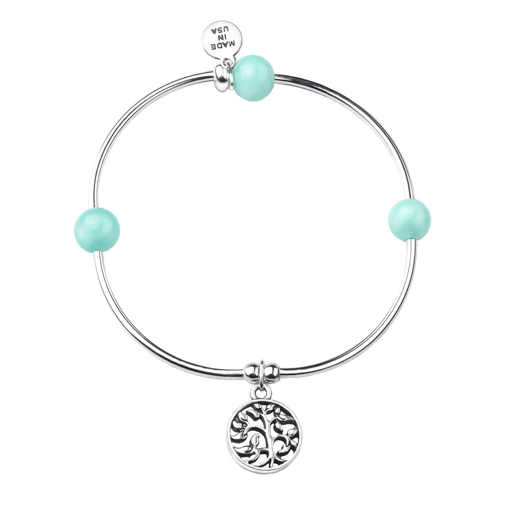 Tree of Life | Soft Bangle Charm Bracelet | Tiffany Blue Agate