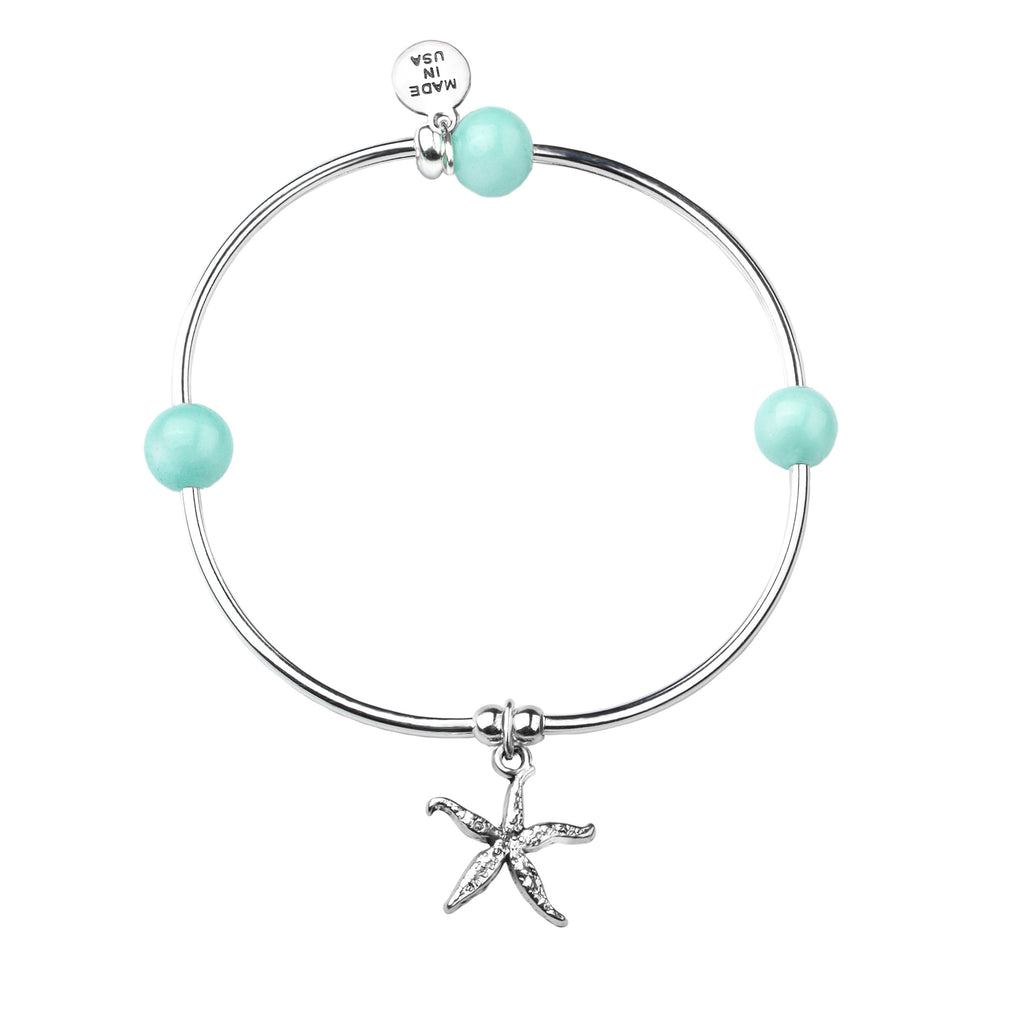 Starfish | Soft Bangle Charm Bracelet | Tiffany Blue Agate