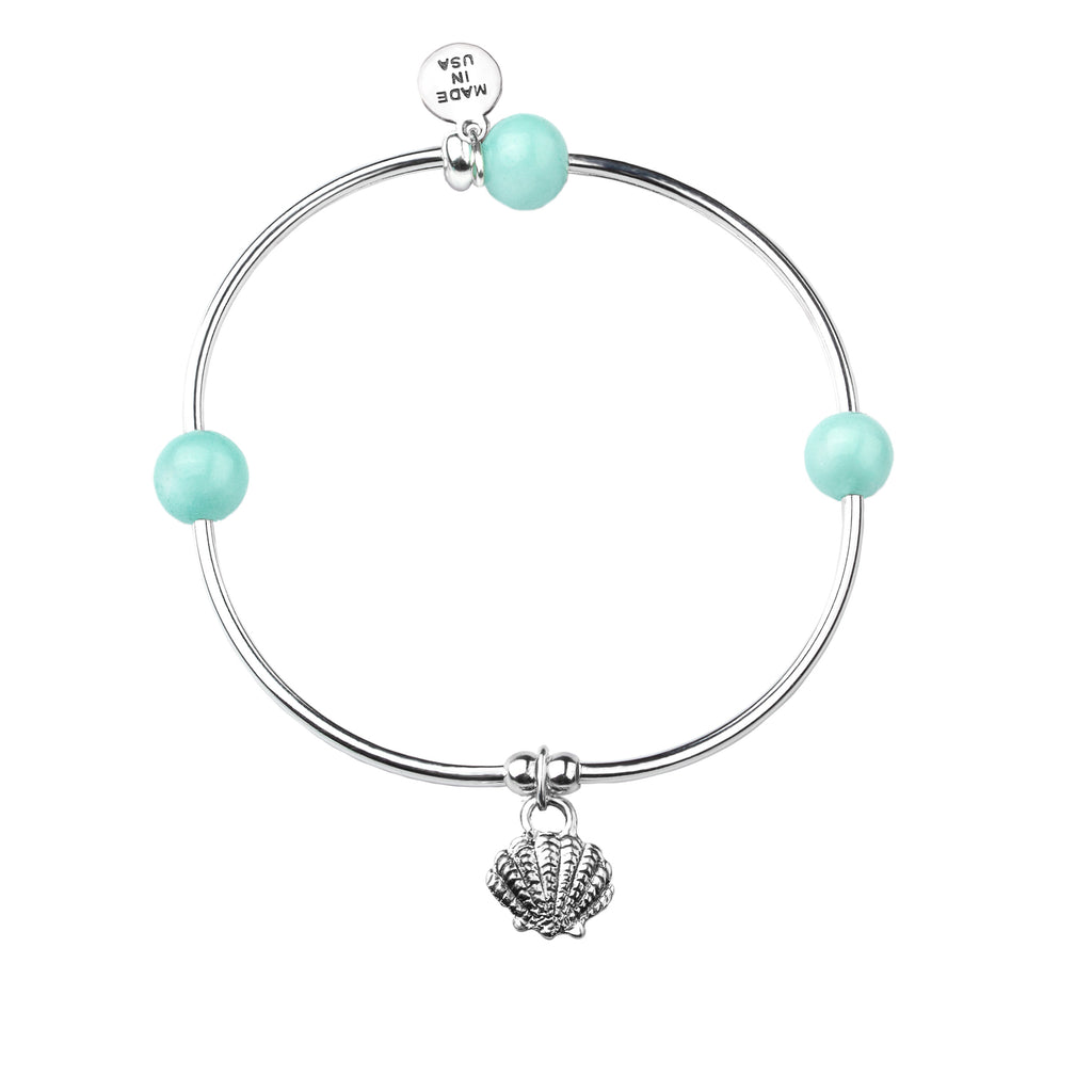 Shell | Soft Bangle Charm Bracelet | Tiffany Blue Agate