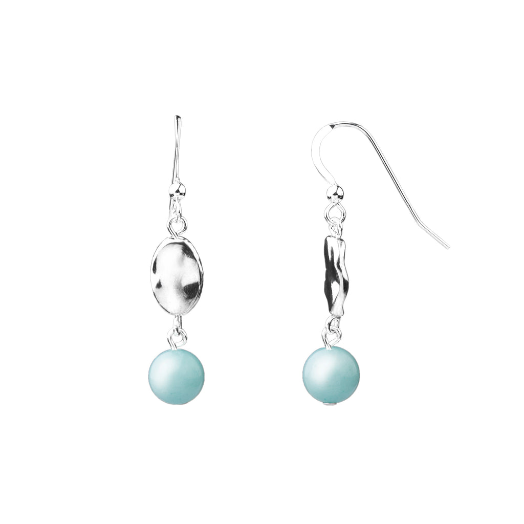 Earring | Hammered | Tiffany Blue Agate