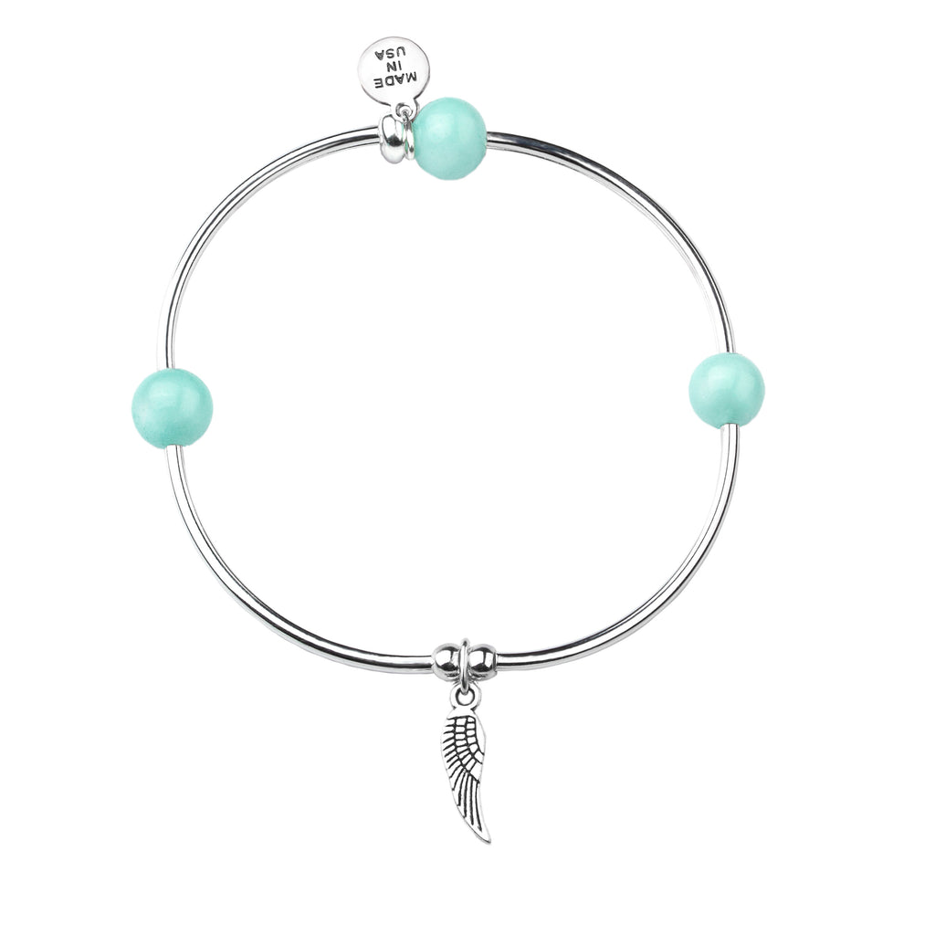 Angel Wing | Soft Bangle Charm Bracelet | Tiffany Blue