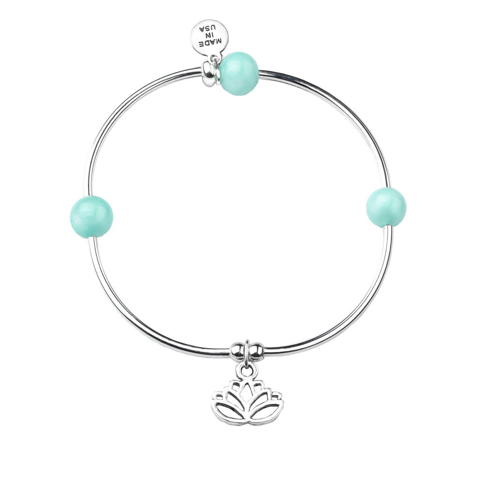 Lotus | Soft Bangle Charm Bracelet | Tiffany Blue Agate