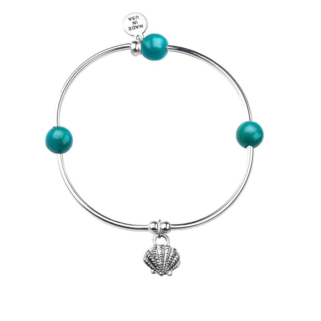 Shell | Soft Bangle Charm Bracelet | Turquoise