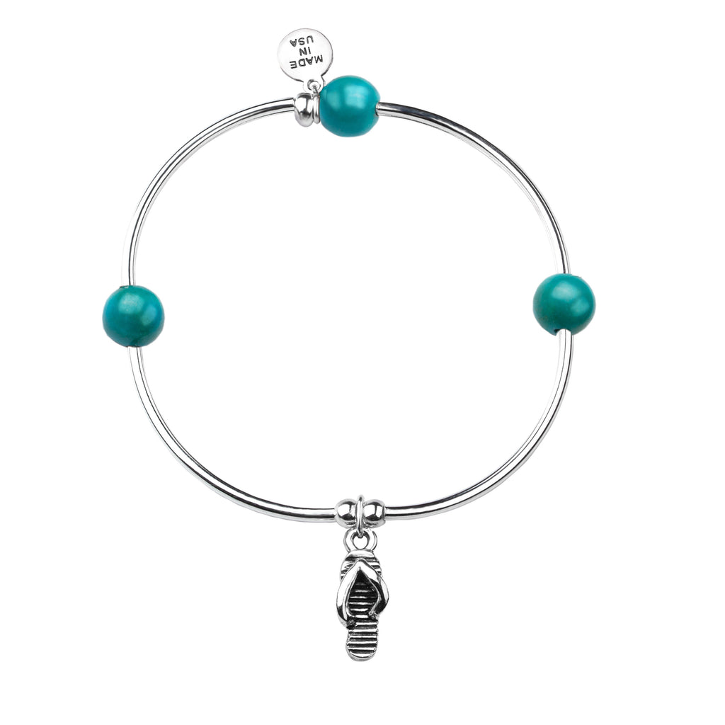 Flip Flop | Soft Bangle Charm Bracelet | Turquoise