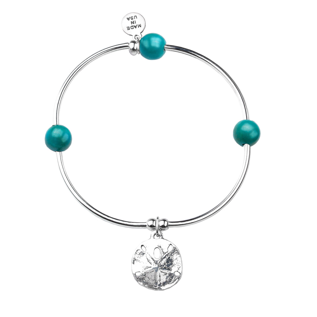 Sand Dollar | Soft Bangle Charm Bracelet | Turquoise