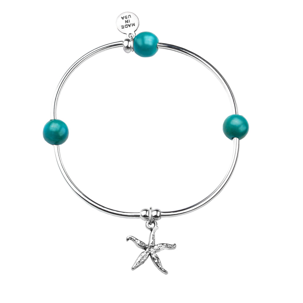 Starfish | Soft Bangle Charm Bracelet | Turquoise