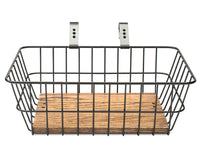 Handsome Cycles Front Bicycle Basket With Handmade Wooden Platform