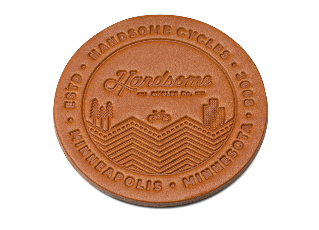 Handsome Cycles Leather Coaster Set of 4
