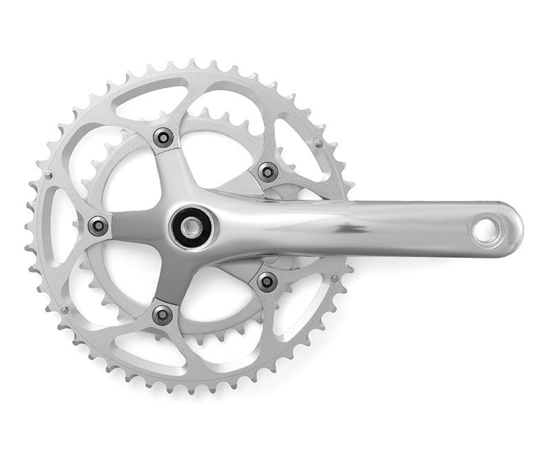 Compact Double Crank Set 48 / 34 Chainrings Silver