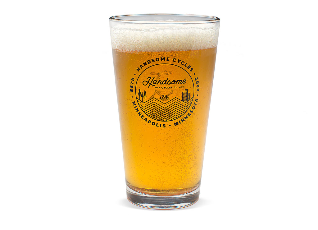 Handsome Cycles  Landscape Logo Pint Glass