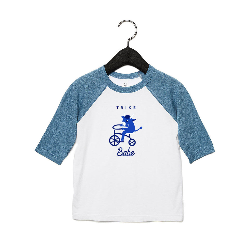 Trike Babe Toddler Baseball T White / Denim