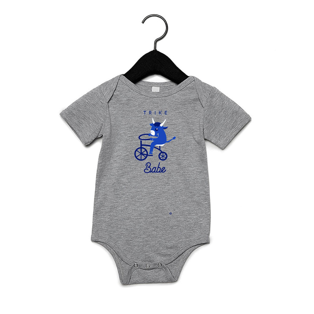 TRIKE BABE ONESIE ATHLETIC HEATHER