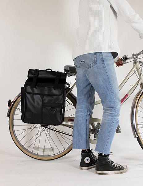Goodordering Roll Top Pannier / Backpack Monochrome Black