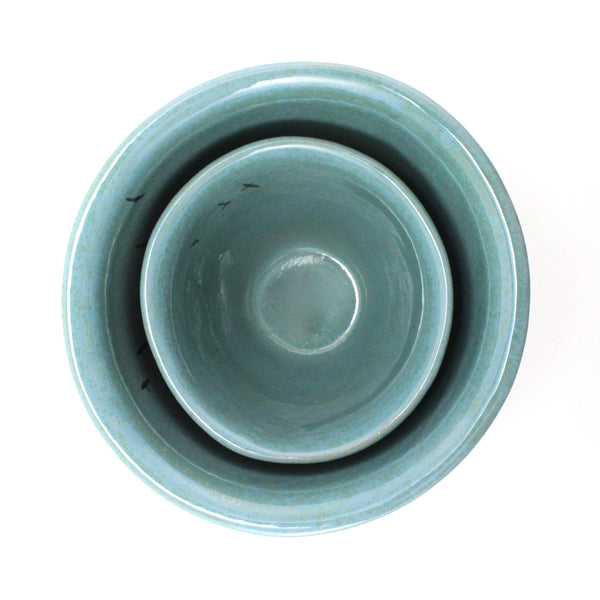 Nesting Bowls Set of 2 | Blue with Birds