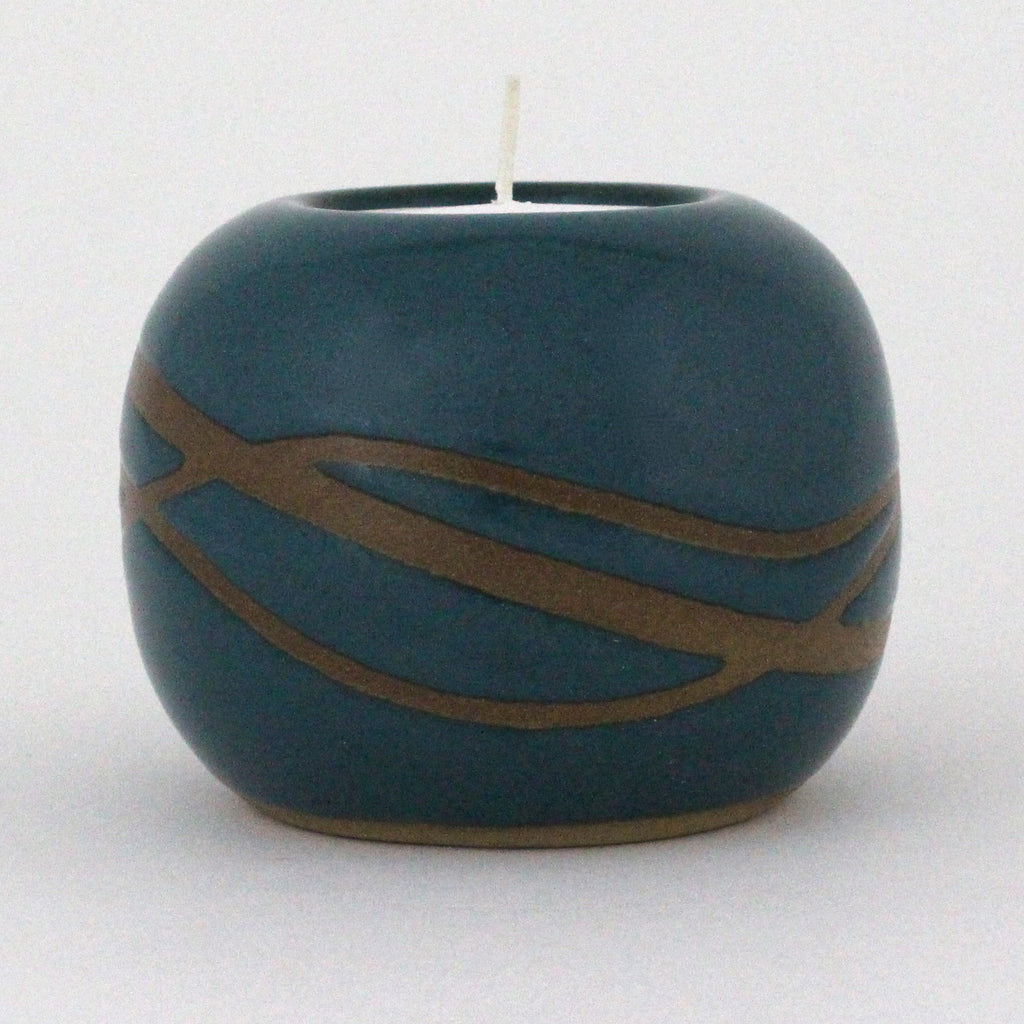 Tealight Candle Holder | Waves | Teal