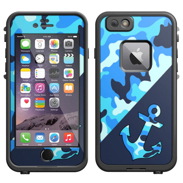 Skin decal for lifeproof iphone 6 case anchor blue camo print