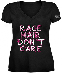 Race Hair Don't Care Ladies V-Neck Shirt