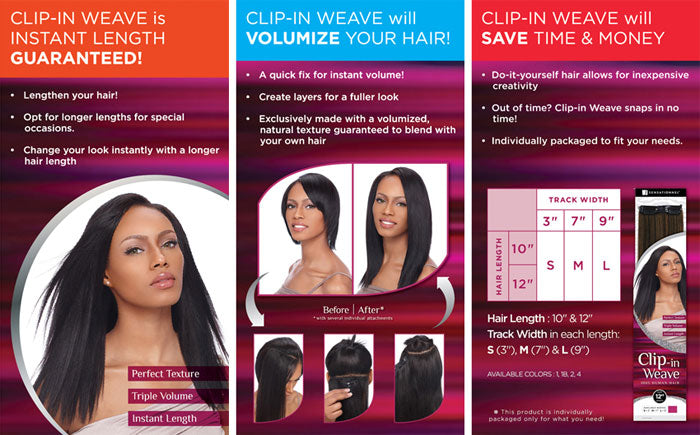 Senationnel Human Hair Yaki Clip-in Extensions