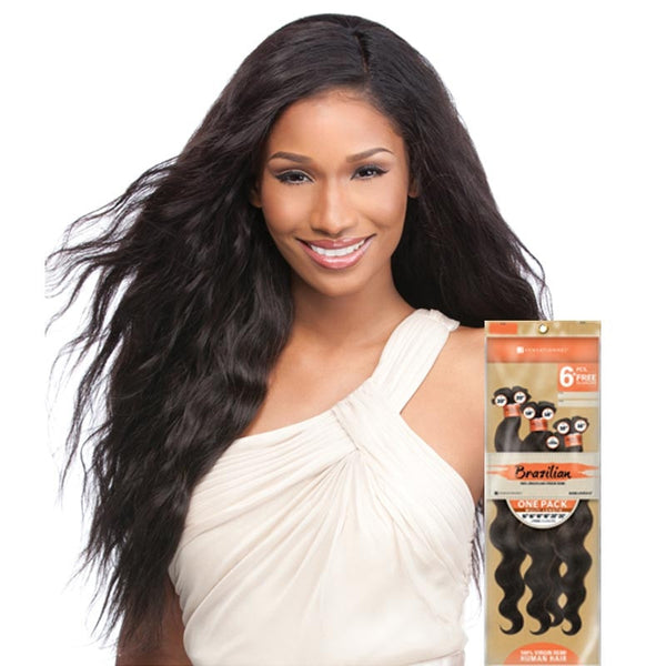 Bare & Natural Unprocessed Brazilian Hair Weave ONE PACK - NATURAL WAVY (6PCS+Closure)