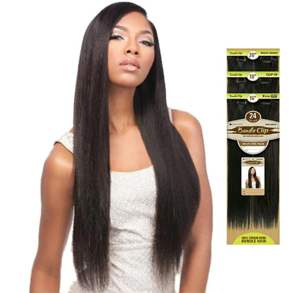 "Bare & Natural Unprocessed Brazilian Hair Bundle Clip-on Weave - NATURAL STRAIGHT (18""x8, 20""x8, 22""x8, Total 24 pcs)"