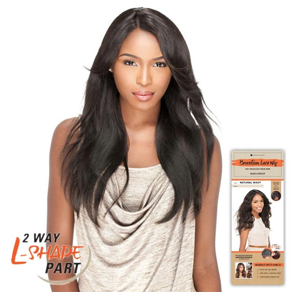 "Bare & Natural Unprocessed Hair 2 Way ""L""-Shape Part Lace Wig  - NATURAL STRAIGHT"