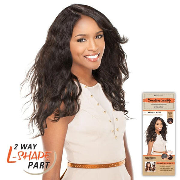 "Bare & Natural Unprocessed Hair 2 Way ""L""-Shape Part Lace Wig  - NATURAL WAVY"