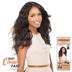 "Unprocessed Hair 2 Way ""L""-shape Part Lace Wig - NATURAL WAVY"