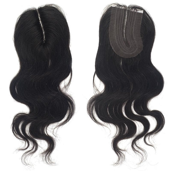 "Bare & Natural Unprocessed Remi Hair Top Piece - NATURAL BODY ""L"" PART LACE CLOSURE 12"""