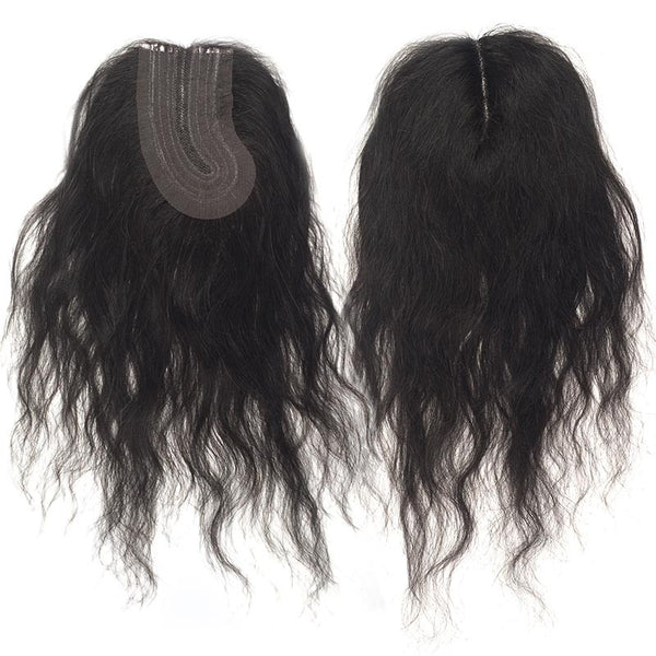 "Bare & Natural Unprocessed Remi Hair Top Piece - NATURAL WAVY ""L"" PART LACE CLOSURE 12"""