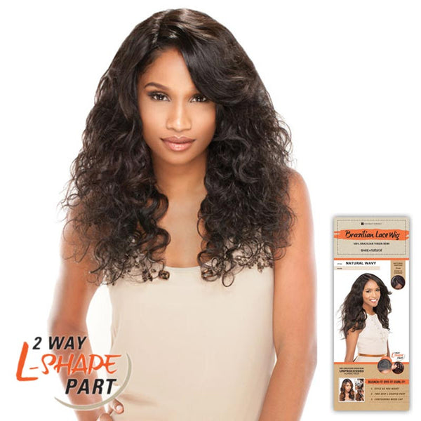 "Bare & Natural Unprocessed Hair 2 Way ""L""-Shape Part Lace Wig  - NATURAL CURLY"