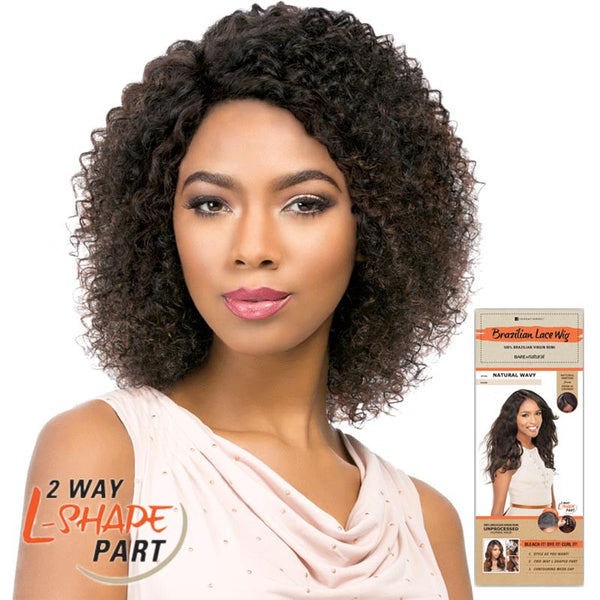 "Bare & Natural Unprocessed Hair 2 Way ""L""-Shape Part Lace Wig  - NATURAL JERRY"