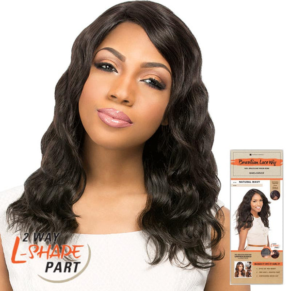 "Bare & Natural Unprocessed Hair 2 Way ""L""-Shape Part Lace Wig  - NATURAL LOOSE DEEP"