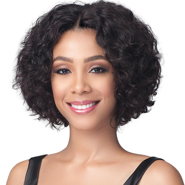 BobbiBoss Unprocessed Human Hair Whole/Full Lace Wig - NATURAL CURL 12""