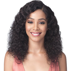 BobbiBoss Unprocessed Human Hair Whole/Full Lace Wig - NATURAL CURL 20""