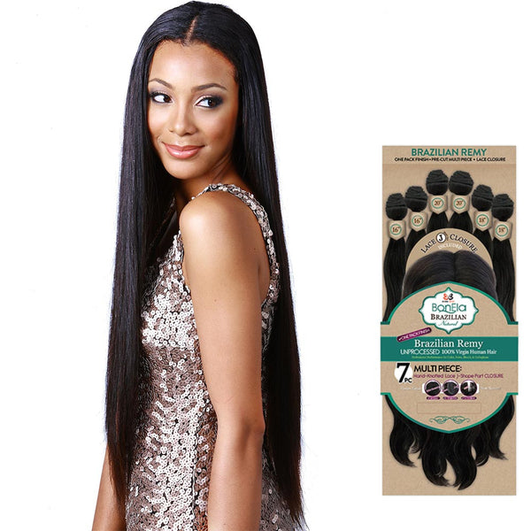 BobbiBoss BonEla Brazilian Natural Unprocessed Hair Weave - NATURAL STRAIGHT 7PCS