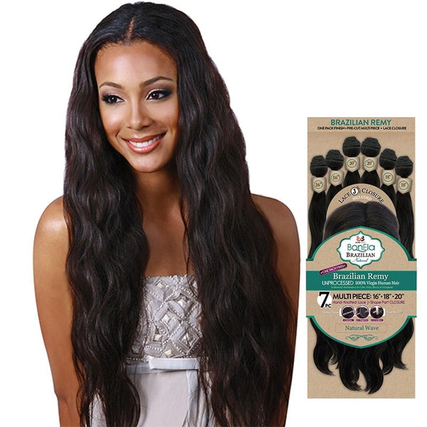 BobbiBoss BonEla Brazilian Natural Unprocessed Hair Weave - NATURAL WAVE 7PCS