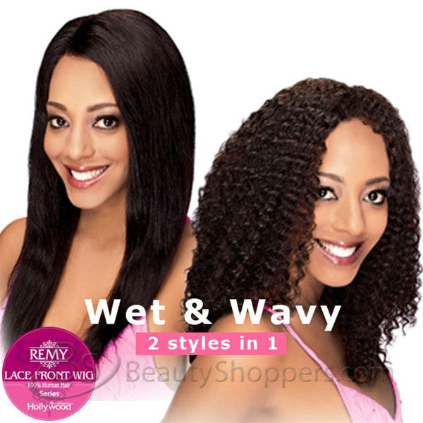 dca116405 Hollywood Sis Remy Human Hair Lace Front Wig - HRH BRAZILIAN (Wet & Wavy)