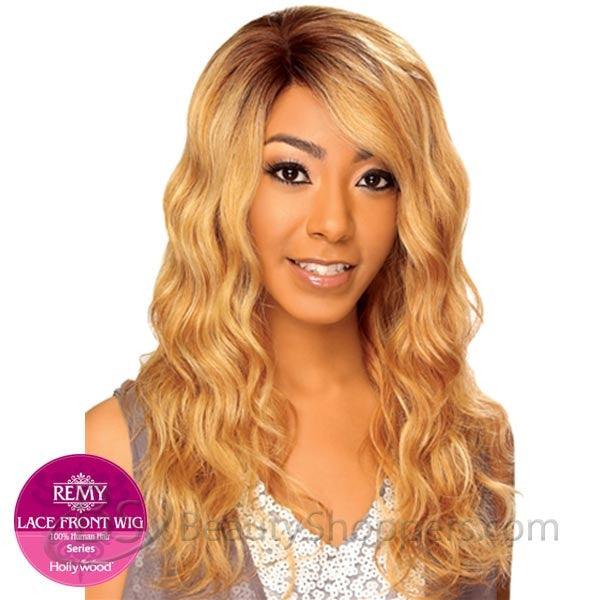 Hollywood Sis Remy Human Hair Lace Front Wig - Onyx