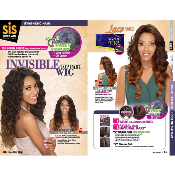 "Zury Sis Invisible Top Part Lace Front Wig - EBONY (""C""-Part)"