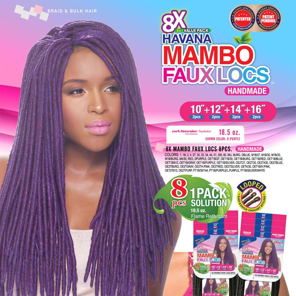 Janet 8 In 1 Pack Solution Braid Mambo Faux Locs 8pcs