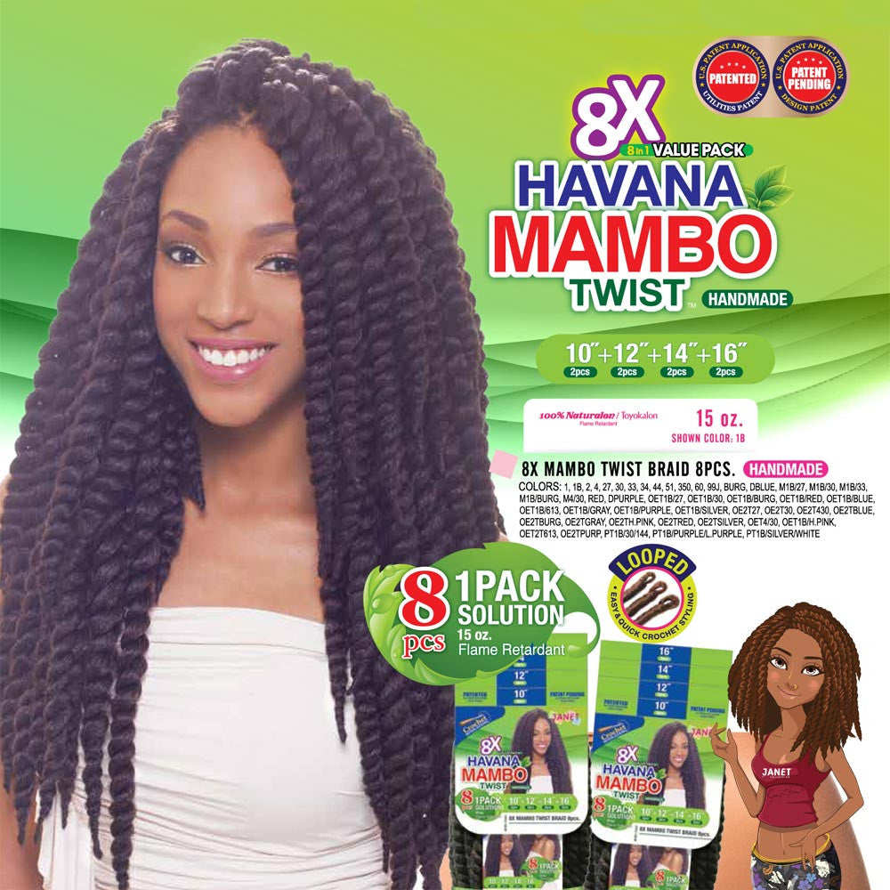 Janet 8 In 1 Pack Solution Braid Mambo Twist 8pcs