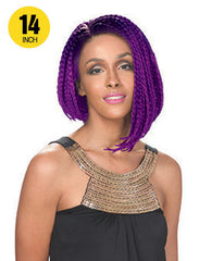 Hollywood Sis Afro Braid Lace Front Wig - BOB LOPSIDED 14""