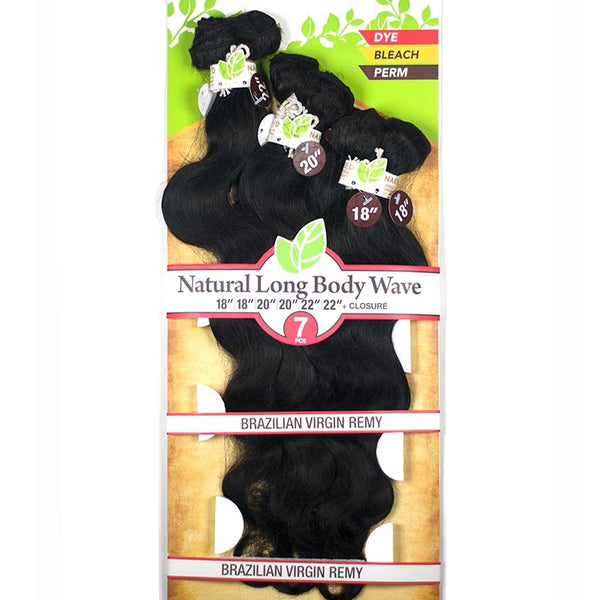 "Naked Unprocessed Brazilian Remy Hair Weave - NATURAL LONG BODY WAVE 7PCS (18"",18"", 20"", 20"", 22"", 22"" + Closure)"