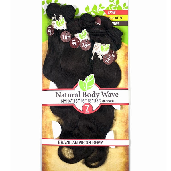 "Naked Unprocessed Brazilian Remy Hair Weave - NATURAL BODY WAVE 7PCS (14"", 14"", 16"", 16"", 18"", 18"" + Closure)"