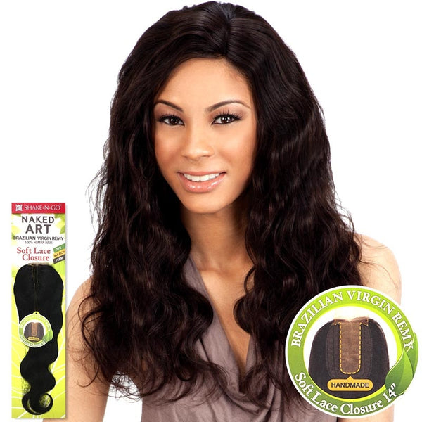 Naked Art Unprocessed Brazilian Hair Piece - SOFT LACE CLOSURE 14""